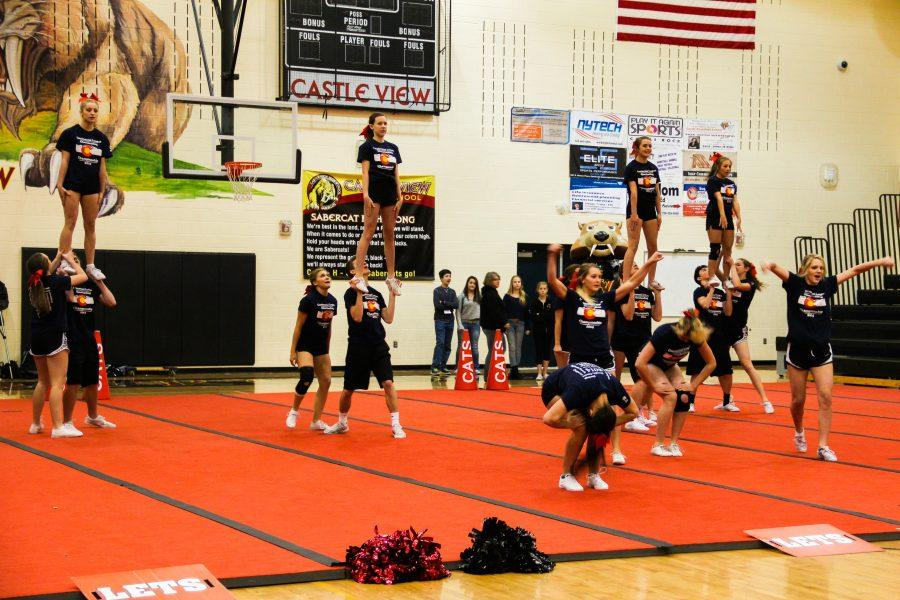 The Castle View Varsity Cheer squad did a performance during Thursday's Rally Cat pep rally. Photo by Heather Monks