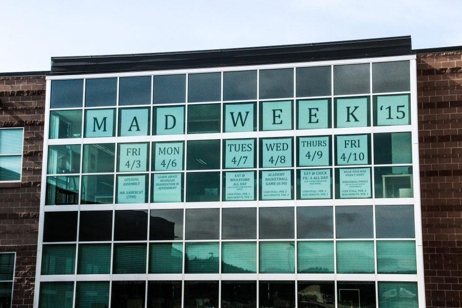 A list of MAD Week events are prominently displayed on the windows of Castle View's library.
